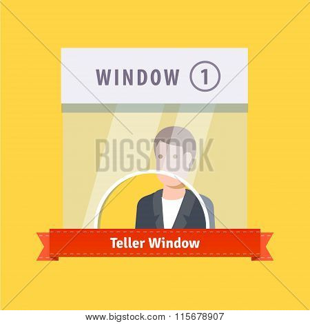 Teller window flat illustration