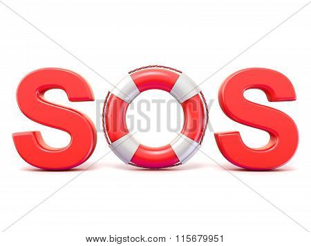 SOS sign with lifebuoys. 3D