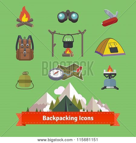 Backpacking and hiking flat icon set