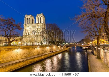 Cathedral Notre Dame Reims Champagne at dusk, Paris France