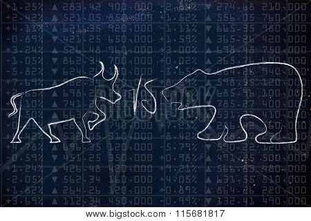 Bull And Bear Facing Each Other Over Stock Exchange Indexes