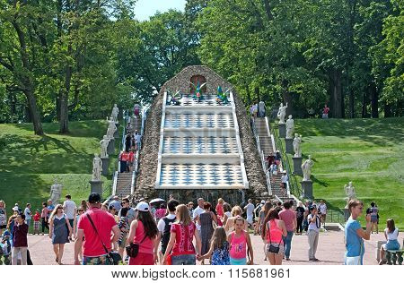 Peterhof. Russia. The Chessboard Hill Cascade