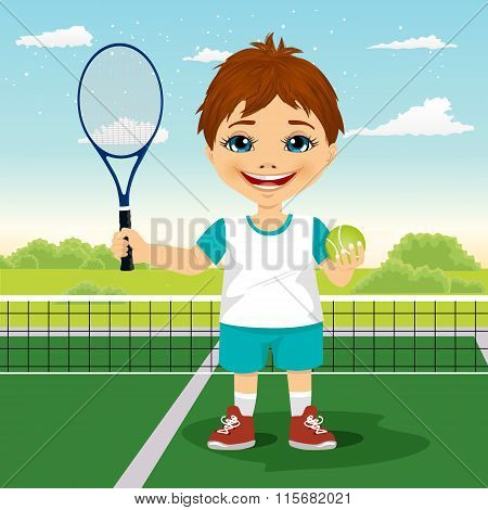 Young boy with racket and ball on tennis court smiling