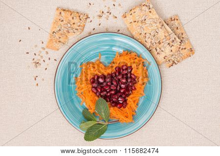 Heart Shaped Fresh Salad And Cookies For Valentine's Day.