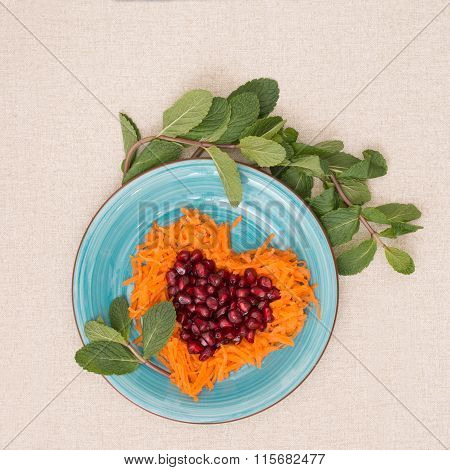 Heart Shaped Fresh Salad  For Valentine's Day.