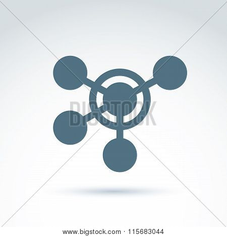 Vector Illustration Of Connection, Link Between Circles, Conceptual Structure Icon.