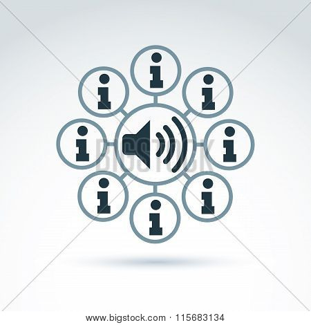Vector Loudspeaker Sign With Info Icons. Conceptual Consultation Service Emblem.  Information And Po
