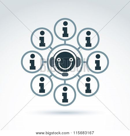 Call Center, Information Collecting And Exchange Theme Icon, Vector Conceptual Unusual Symbol For Yo