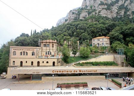 Montserrat, Spain - August 28, 2012: Stations Of The Funiculars De Sant Joan And Santa Cova And Crem