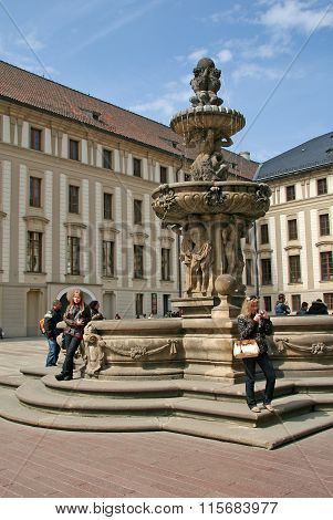Prague, Czech Republic - April 16, 2010: View Of The Fountain On The Second Courtyard In Prague Cast