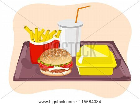 Common fast food snacks on tray