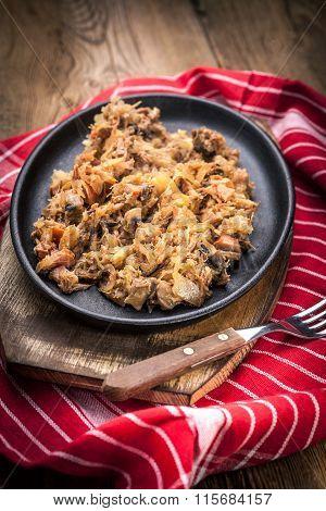 Traditional Polish Sauerkraut (bigos) With Mushrooms And Meat.