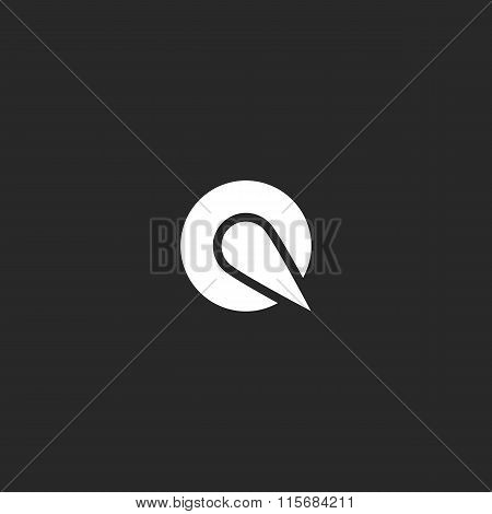 Logo Q Letter Round Design Element, Mockup Emblem Black And White Business Card, Circle Modern Graph