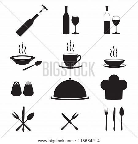 Kitchen tool icon set. Vector illustration.