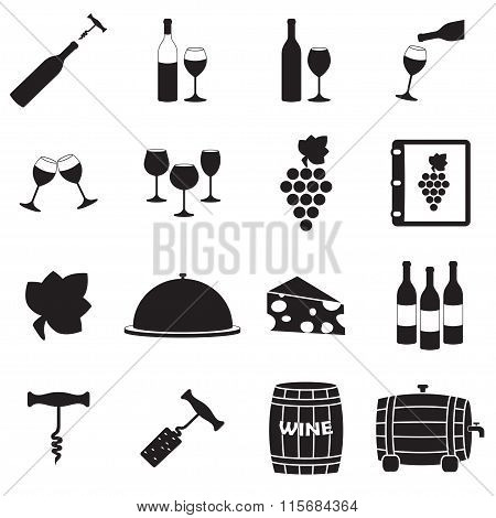 Wine icon set. Restaurant and food vector.