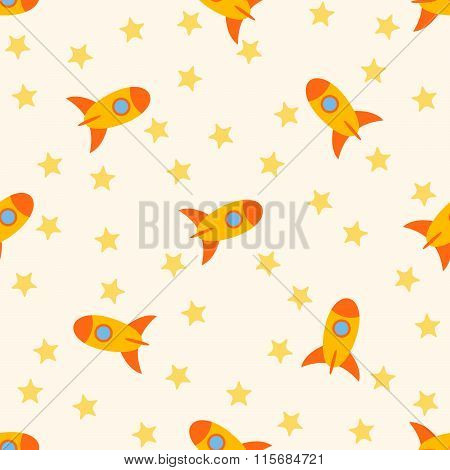 Seamless Pattern With Rockets And Stars For Childs.