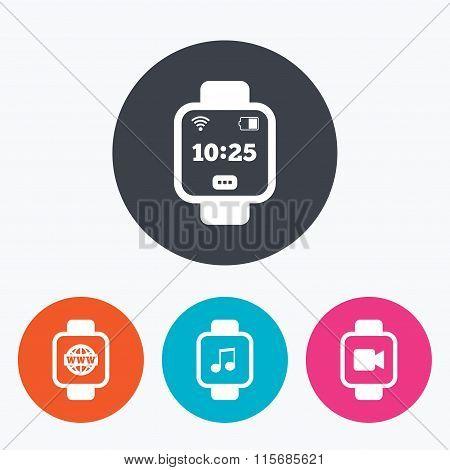 Smart watch icons. Wrist digital time clock.