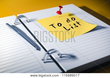 3d agenda with to do list sticky note, close up