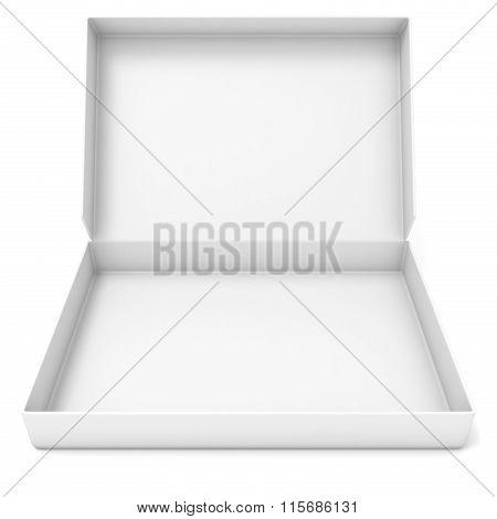 Empty white box. Front view. 3D