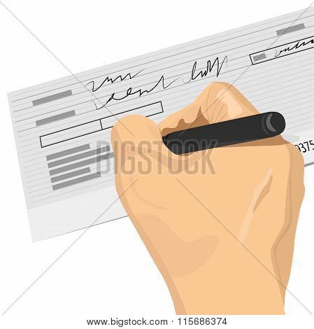 hand holding a pen signing a blank check