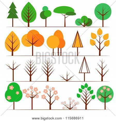 Collection of flat tree icons in different seasons.