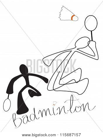 Badminton Game Couple Symbol