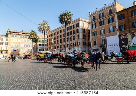 Horse And Carriages Near Spanish Steps In Rome