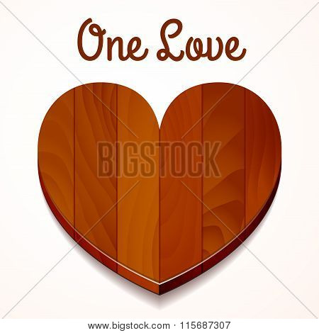 Vector One Love Wood Heart