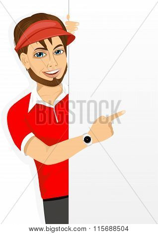 hipster fast food restaurant employee with an empty banner