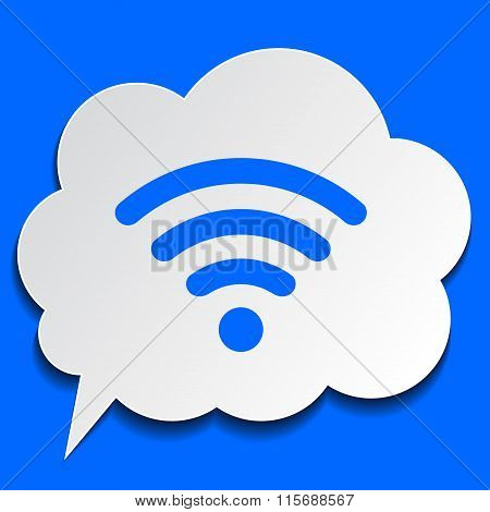 Paper Bubble With Wi-fi Symbol On Blue Background
