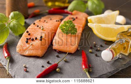 Tasty Salmon On Stone