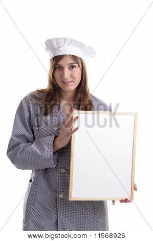 Young Female Cook With Add Bord