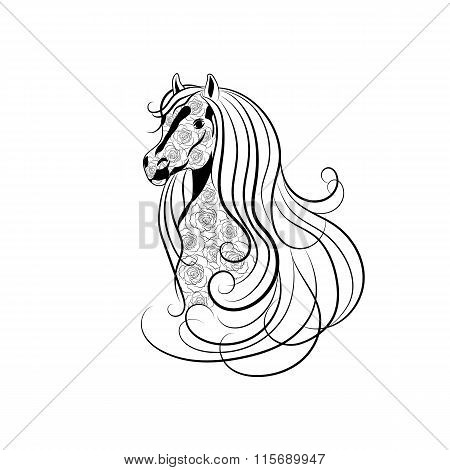 Vector illustration of Horse head decorated with floral pattern in black and white style.
