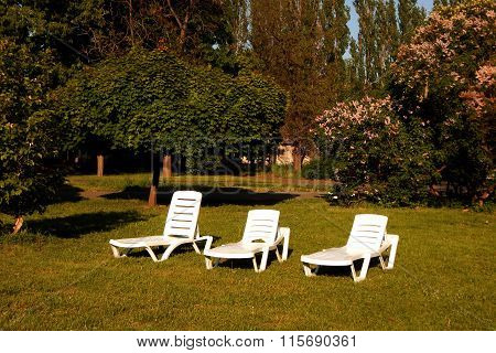 Outdoor loungers on lawn near cottage