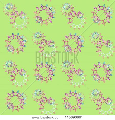 Seamless floral pattern green pink violet purple