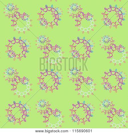 Seamless floral pattern green pink violet purple