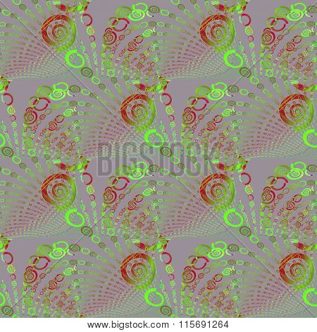 Seamless sprial pattern green red gray