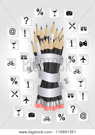 Pencils With Ribbon And Icon Background