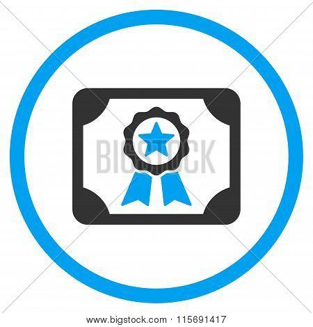 Certificate Circled Flat Icon