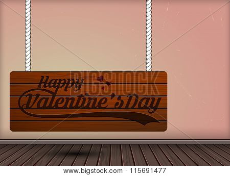 Happy Valentine Day Wooden engraving On Hanging Signs Design Template
