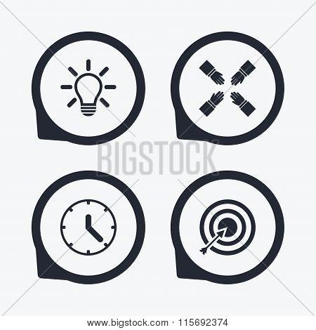 Lamp idea and clock time. Target aim.