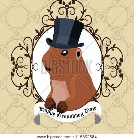 Groundhog day greeting card with cute marmot in black hat.
