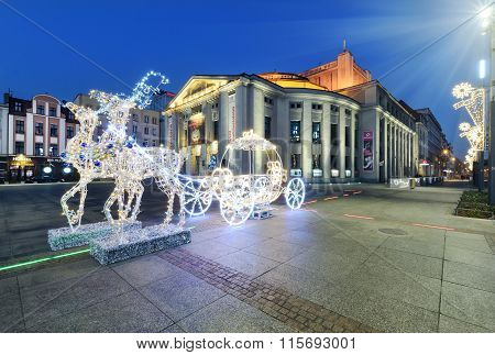 The Light Carriage Pulled By Reindeer In Katowice.