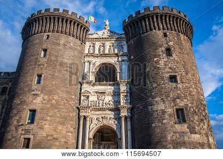 medieval castle, Castel Nuovo Naples, Italy
