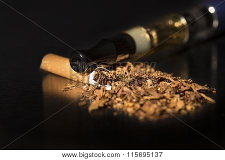Closeup Broken Cigarette Stop Smoking