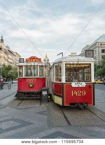 Antique Tram Trasformed In Bar - Prague