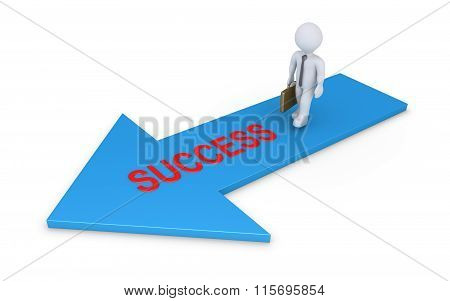 Businessman Walking On Success Arrow