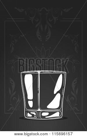 Whiskey Glass. Vector Hand Drawn Illustration In Cartoon Style. Negative Space Concept. Sketch Of Lo