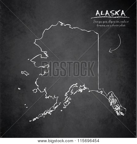 Alaska map blackboard chalkboard vector