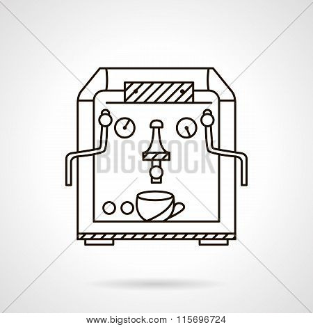 Classic coffee machine flat line style vector icon